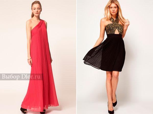 Длинное коралловое платье на одно плечо и черное платье под грудь