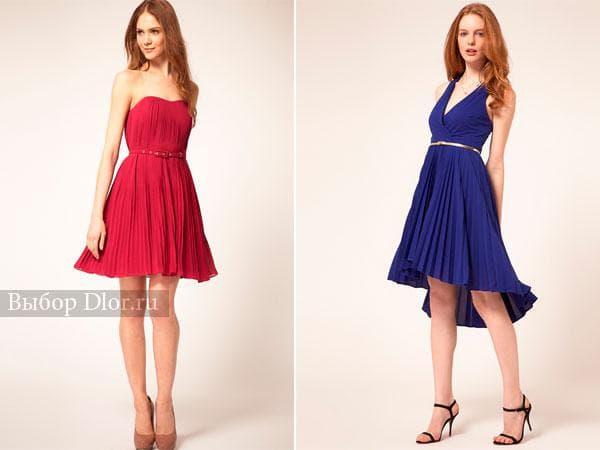 Летние платья средней длины розового и синего цвета