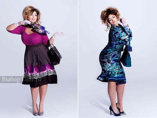 Фото платьев для полных с яркими принтами