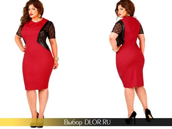 Фото красного платья-футляра с вставками черного гипюра