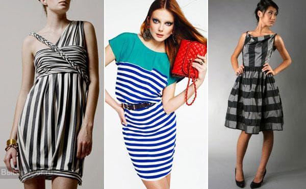 Платья в черно-серую полоску длиною до колена