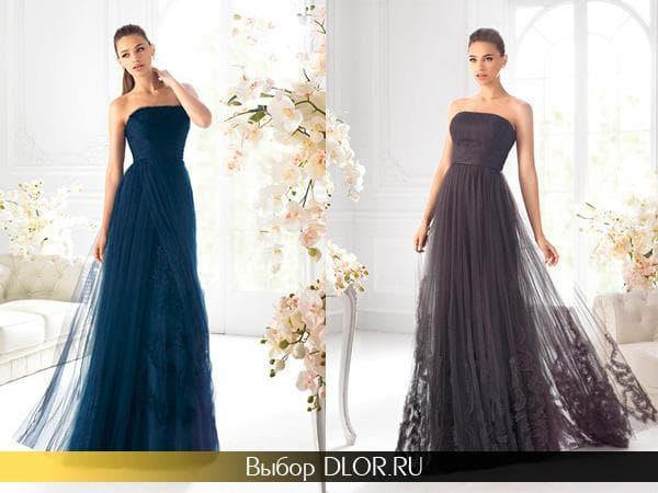 Синее и черное платье с завышенной талией и пышной юбкой