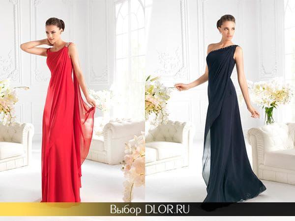 Красное платье и темно-синее на одно плечо