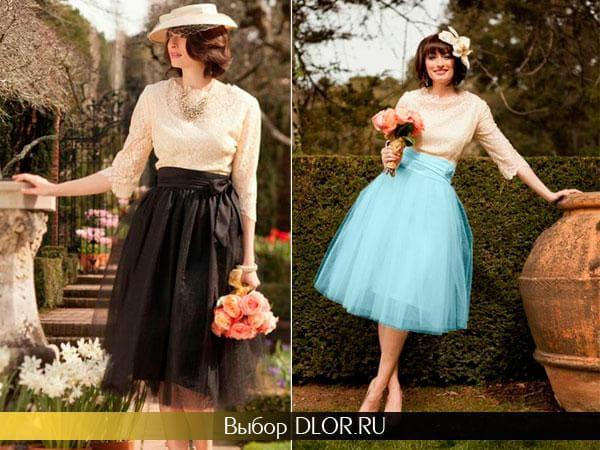 Двухцветные выпускные платья в стиле ретро
