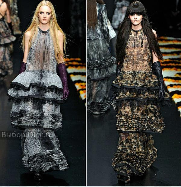 Животные принты в новой коллекции платьев Cavalli