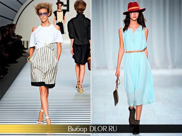 Платье с белым верхом и низом в полоску и шифоновое голубое
