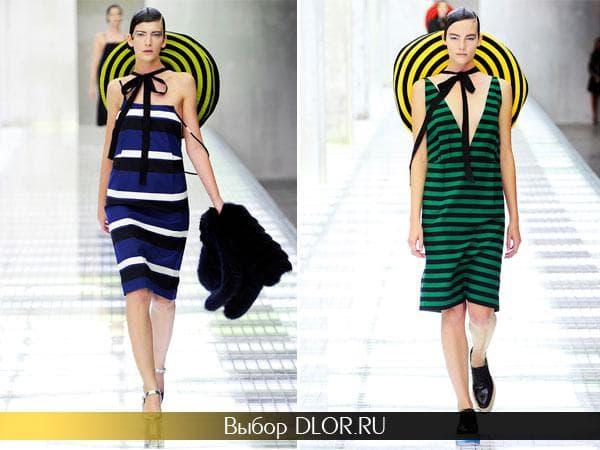 Фото сарафанов синего и зеленого цвета от Prada