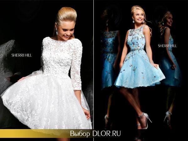 Кружевные платья с пышной юбкой белого и голубого цвета