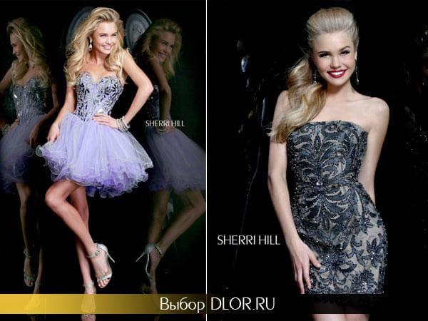 Светло-фиолетовое платья и черное с серебряной вышивкой