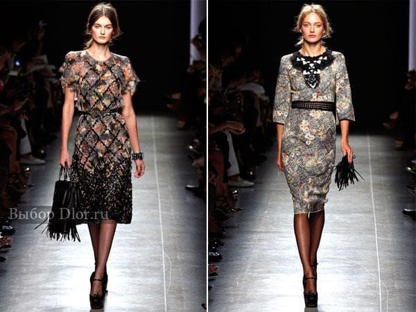 Классические платья с узорами в сером цвете
