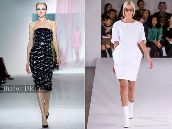 Черное платье-футляр украшенное камнями и белое платье-тюльпан