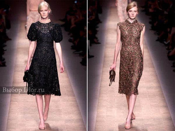 Кружевные строгие платья от Valentino черного и коричневого цвета