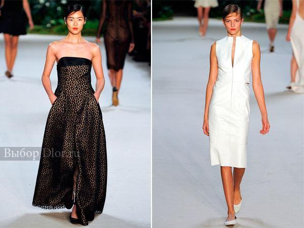 Кружевное платье в пол и белое платье-футляр от Akris 2013