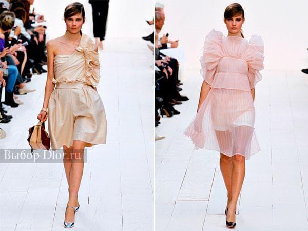 Модели вечерних платьев бежевого и розового цвета от Chloé