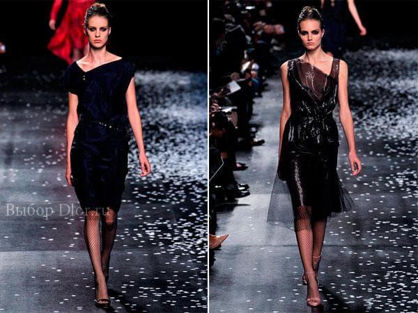 Строгие платья синего и черного цвета из коллекции Nina Ricci 2013