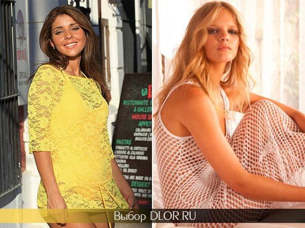 Желтое гипюровое платье и платье-сетка белого цвета от Ujena