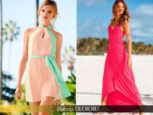 Персиковое короткое и длинное розовое платье-халат