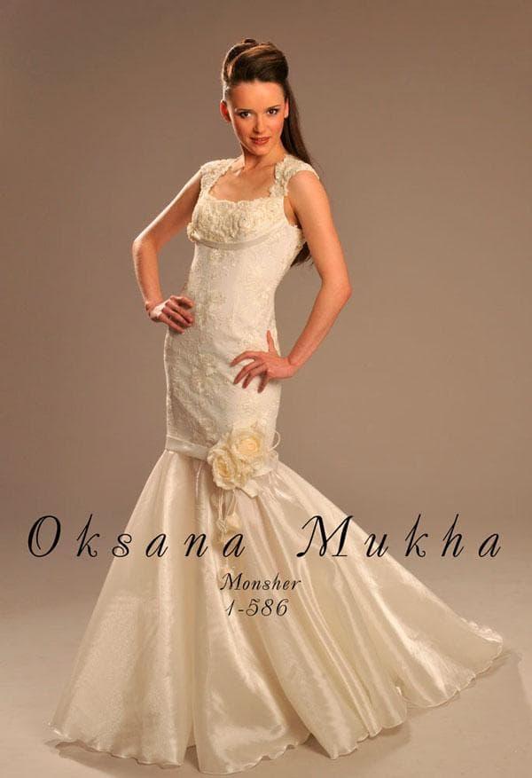 Свадебное платье-русалка с бантом
