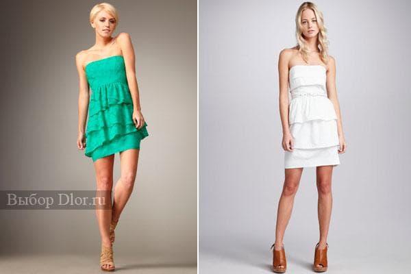 Бирюзовое и белое платье без бретелек