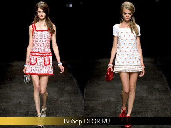 Летний красный сарафан и белое платье-трапеция