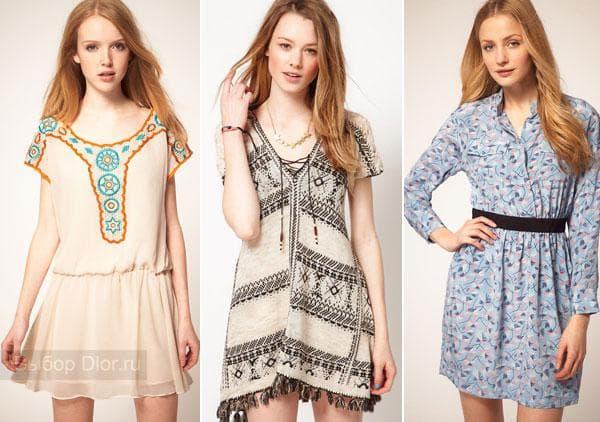 Платья с цветочными принтами и орнаментами