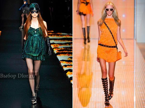 Зеленое платье от Roberto Cavalli и оранжевое от Versace