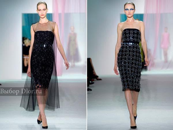 Черные платья футляр от Christian Dior украшенные камнями