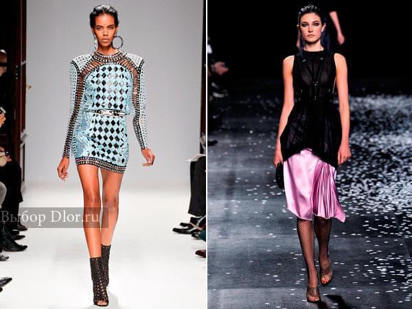 Мини платье от Balmain и классический наряд ниже колена от Nina Ricci