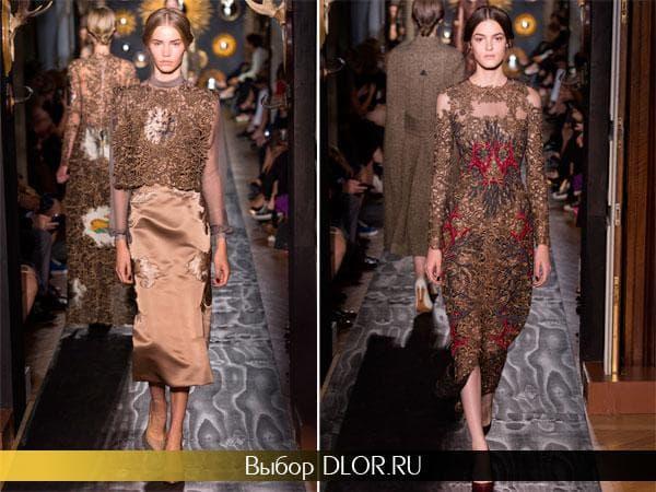 Фото приталенных платьев в коричневых тонах