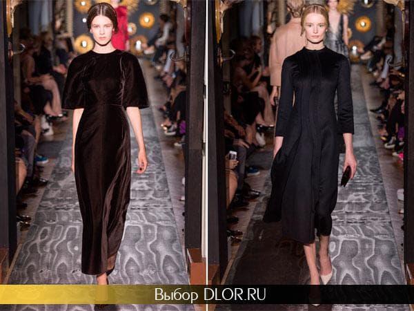 Бархатное классическое платье коричневого и черного цвета