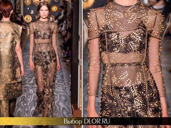 Черное прозрачное платье вышитое золотистыми нитками