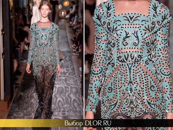 Вечернее платье в пол украшенное камнями и вышивкой от Валентино