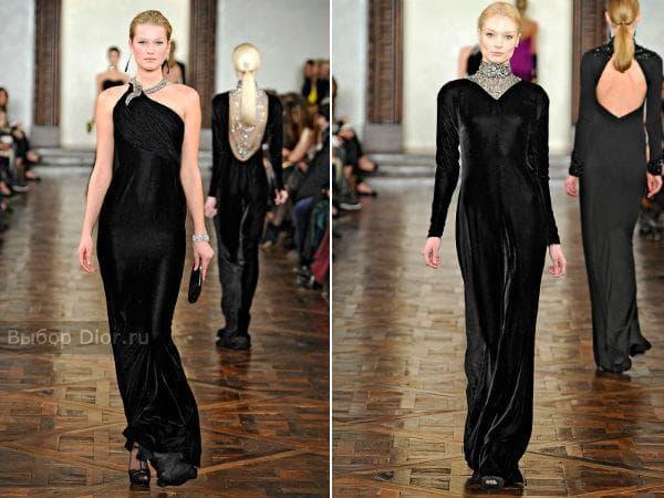 Черные длинные бархатные платья от Ralph Lauren