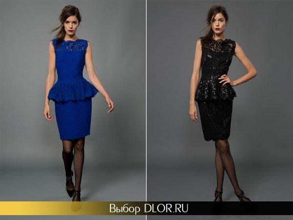 Синее и черное платье с баской на выпускной