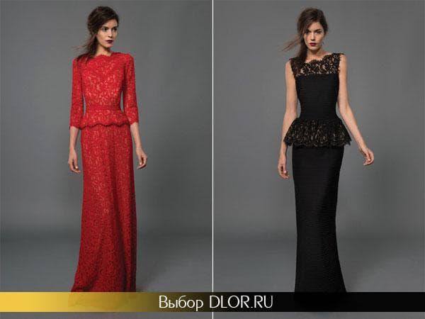 Красное и черное платье с баской в пол