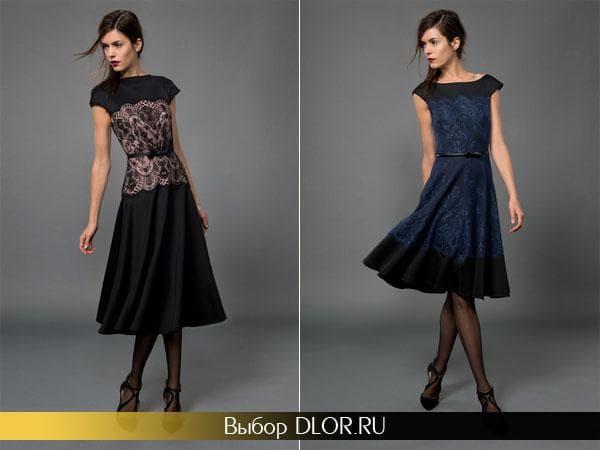 Черные платья средней длины с кружевными вставками