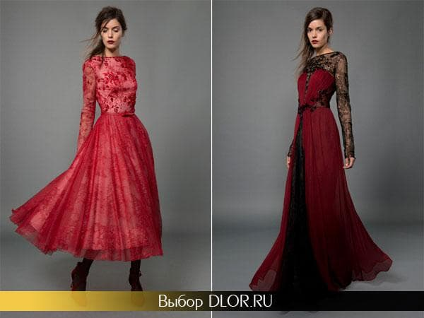 Фото красных выпускных платьев с кружевом и пышной юбкой