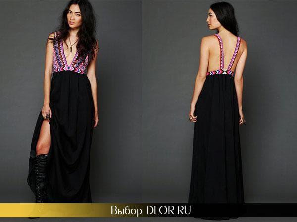 Длинное платье с черной юбкой и ярким верхом