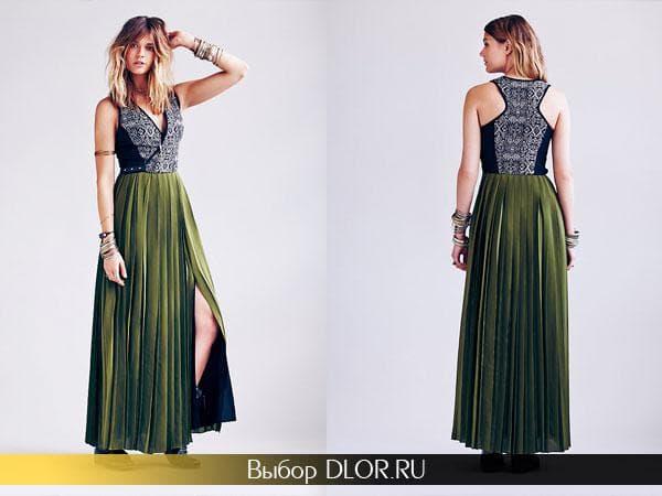 Двухцветное длинное выпускное платье