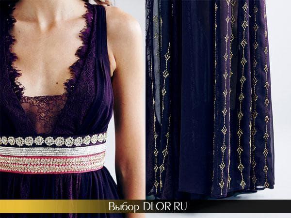 Платье украшенное вышивкой, бисером и камнями