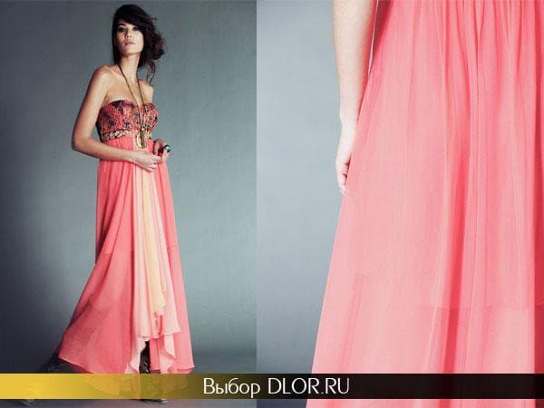 Фото длинного розового платья без бретелей