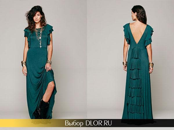 Модное платье с воланами и коротким рукавом