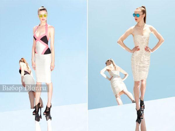 Белое и бежевое бандажное платье длинное ниже колена