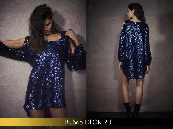 Темно-синее блестящее платье