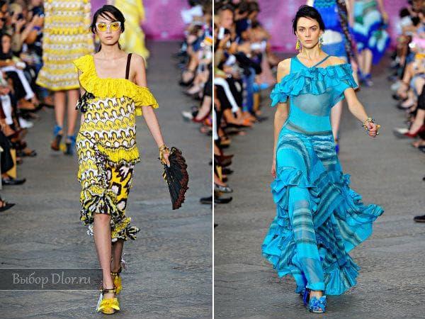 Длинные платья с воланами