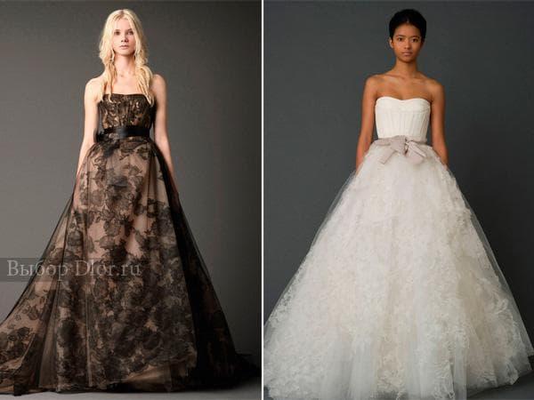 Пышные свадебные платья с атласными лентами