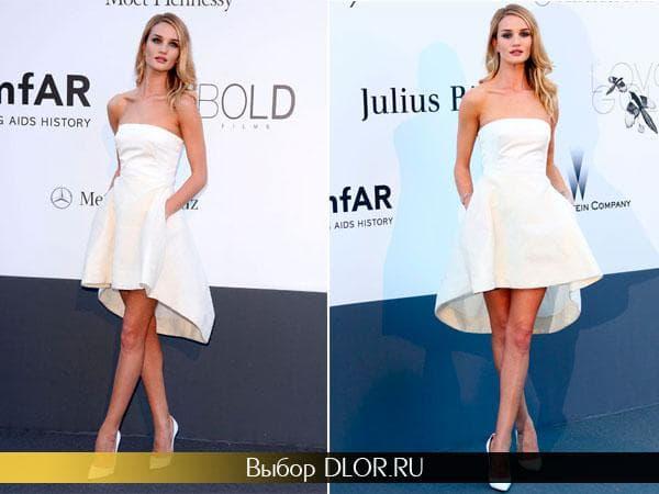 Рози Хантингтон-Уайтли в белом платье от Диор