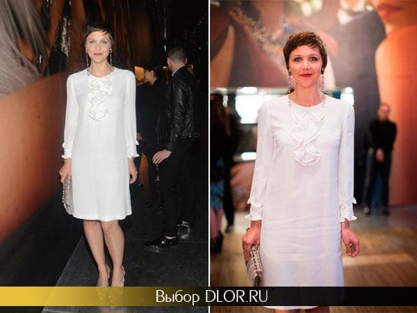 Белое платье от Prada Мэгги Гилленхал