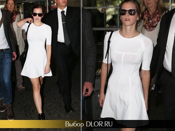 Эмма Уотсон в облегающем белом коротком платье