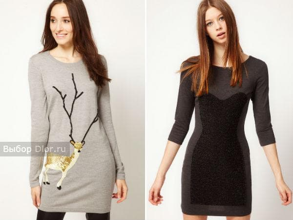 Серые теплые туники-платья из шерсти